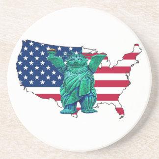 Urso de ursinho, estátua de Libert e de mapa dos E Porta Copos De Arenito