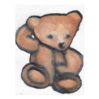 Urso de ursinho que Pondering o material do Cartao Postal