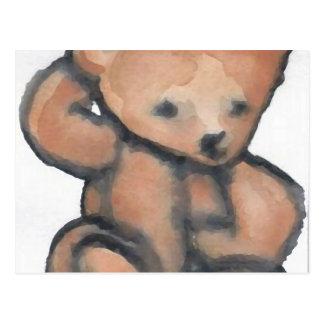 Urso de ursinho que Pondering o material do Cartão Postal