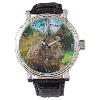 Urso de urso grande e paisagem bonita das relógio de pulso