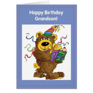 Urso do aniversário de 2708 netos cartão comemorativo