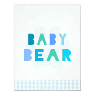 Urso do bebê - azul convite 10.79 x 13.97cm
