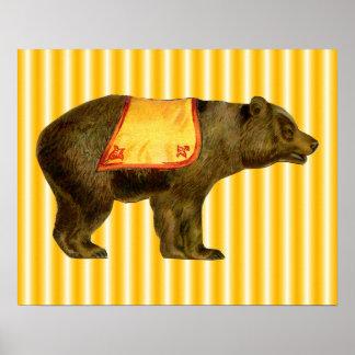 urso do circo do vintage pôster
