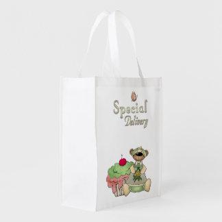 Urso do cupcake da entrega especial sacola ecológica