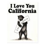Urso do estado de Califórnia do vintage eu te amo Cartões Postais
