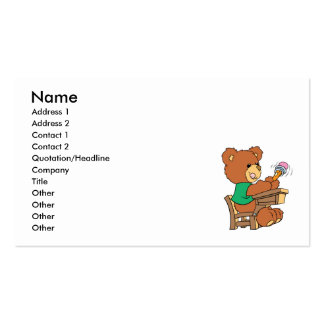 Urso do estudo dos dias escolares cartão de visita