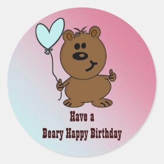 Urso do feliz aniversario adesivos redondos