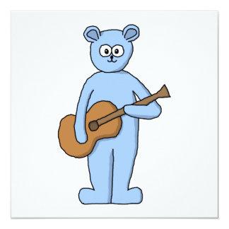 Urso do guitarrista convite quadrado 13.35 x 13.35cm
