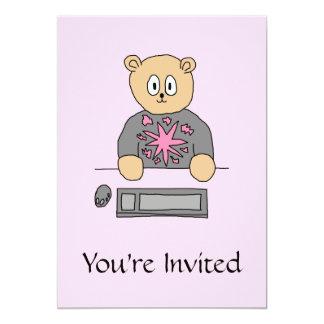 Urso do jogador do jogo de vídeo convite 12.7 x 17.78cm