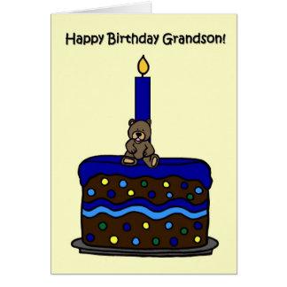 urso do menino no aniversário do neto do bolo cartão comemorativo