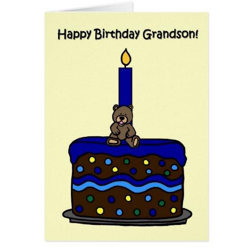 urso do menino no aniversário do neto do bolo cartoes