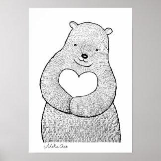 Urso do poster do urso com impressão Mika do