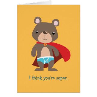 Urso do super-herói de Caped Cartão Comemorativo