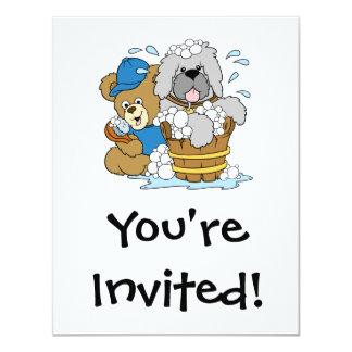 Urso do tempo do banho do Doggy Convite 10.79 X 13.97cm