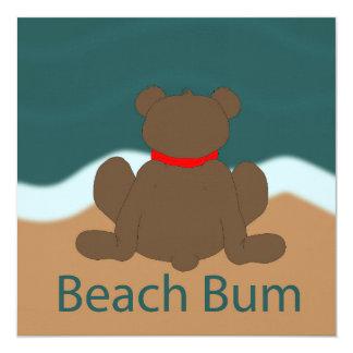 Urso do vagabundo da praia convite quadrado 13.35 x 13.35cm