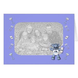 Urso dos azuis bebés e cartão com fotos azul do tr