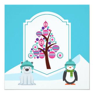 Urso e pinguim do Natal Convite Quadrado 13.35 X 13.35cm