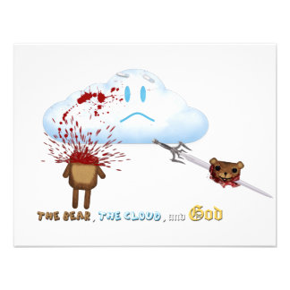 Urso espada nuvem convite personalizados