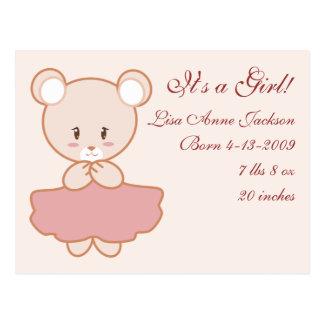 Urso feminino cartão postal