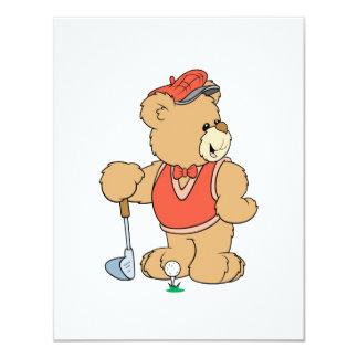 Urso Golfing bonito do jogador de golfe Convite