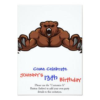 Urso irritado convite 12.7 x 17.78cm
