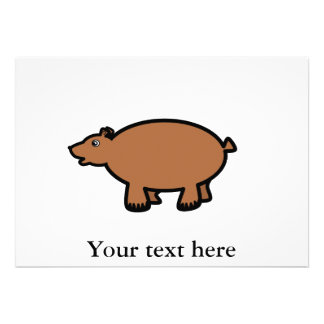 Urso marrom carnudo convite personalizado