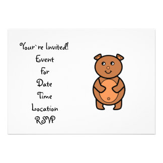 Urso marrom de sorriso convites personalizado