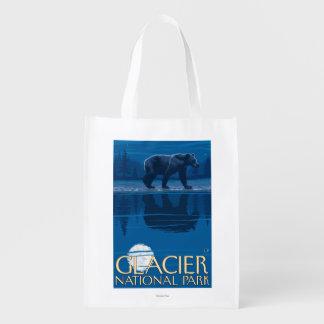 Urso no luar - parque nacional de geleira, TA Sacola Ecológica Para Supermercado