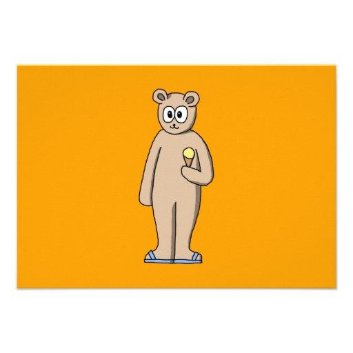 Urso no verão convite personalizados