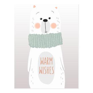 Urso polar - aqueça desejos - cartão do Natal do