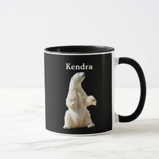 Urso polar branco personalizado no preto caneca