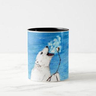 Urso polar com Marshmallow brindado Caneca De Café Em Dois Tons
