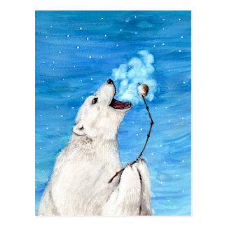 Urso polar com Marshmallow brindado Cartão Postal