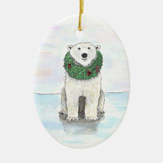 Urso polar com o ornamento da grinalda do feriado