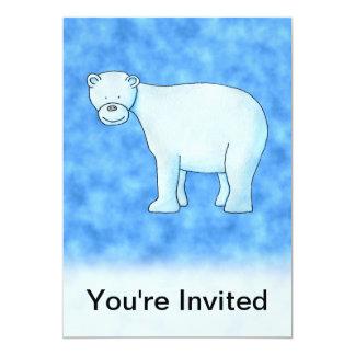 Urso polar convite 12.7 x 17.78cm