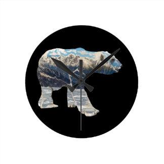Urso polar da tundra relógio redondo