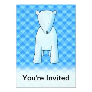 Urso polar do bebê bonito convite 12.7 x 17.78cm