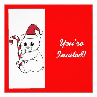 Urso polar do convite da festa de Natal no chapéu