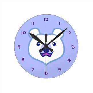 Urso polar dos desenhos animados minimalistas relógio redondo