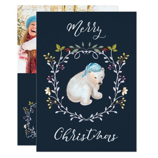 Urso polar e cartão de Natal da foto da grinalda Convite 12.7 X 17.78cm