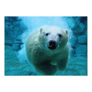 Urso polar na água convite 12.7 x 17.78cm