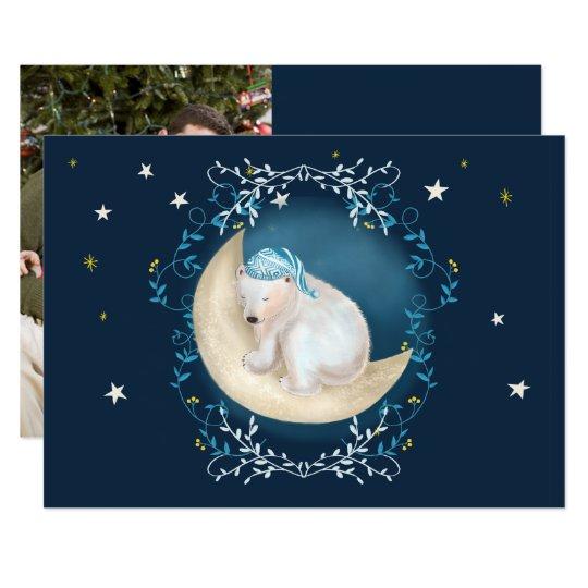 Urso polar que dorme no cartão de Natal da foto da