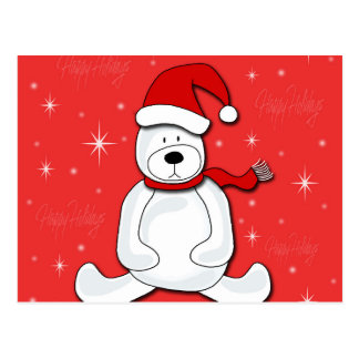 Urso polar vermelho cartão postal
