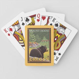 Urso preto na floresta - capa da montagem, Oregon Jogos De Baralhos