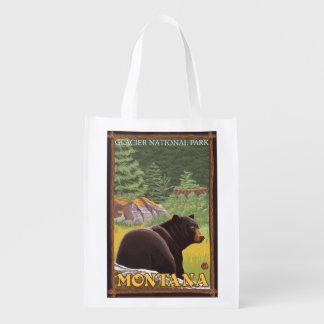 Urso preto na floresta - parque nacional de sacola reusável