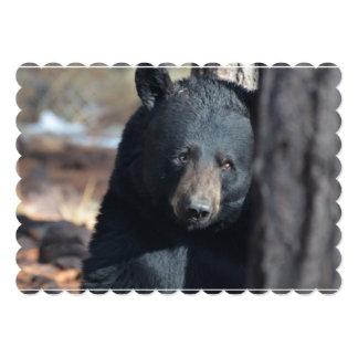 Urso preto selvagem bonito convite 12.7 x 17.78cm