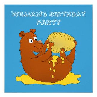 Urso que come o mel, convite de festas