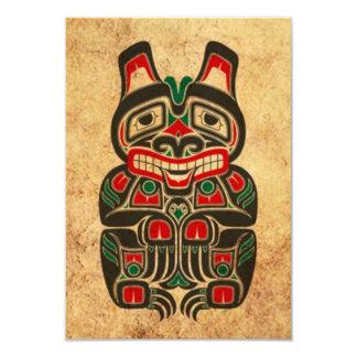 Urso vermelho e verde do vintage do Haida do Convite Personalizados