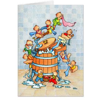 Ursos & cuba de lavagem - o cartão das crianças
