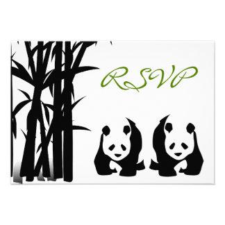 Ursos de panda e cartões Wedding de bambu de RSVP Convites Personalizados